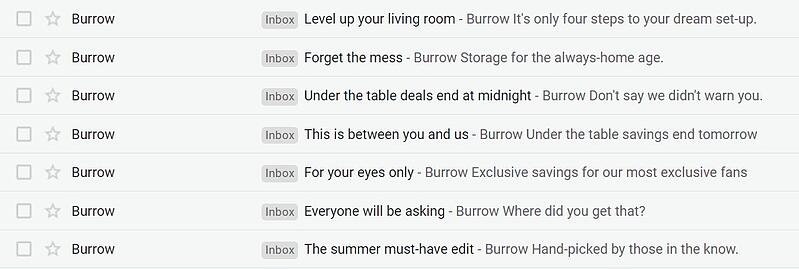 Burrow email subject lines