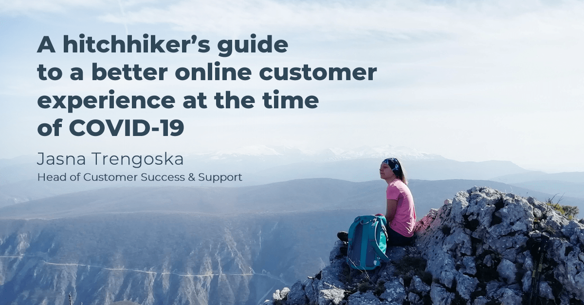 A woman sitting on a mountain top providing a hitchhiker's guide to a better online customer experience at the time of COVID-19