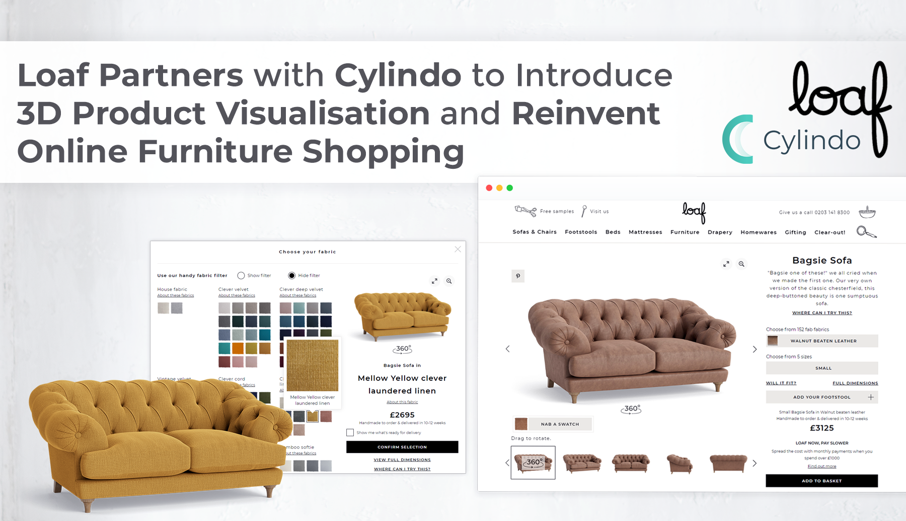 Loaf Partners with Cylindo to Introduce 3D Product Visualization and Reinvent Online Furniture Shopping